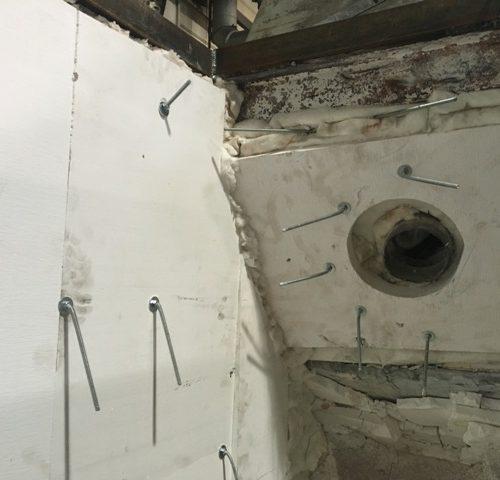 izolacja termiczna pieca topialnego ZPF w trakcie remontu